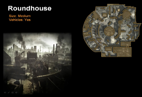 A picture and map layout of the Roundhouse map in Call of Duty: World at War