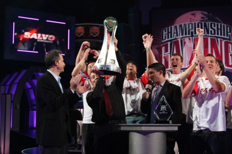 Competitve gamers celebrating their trophy win